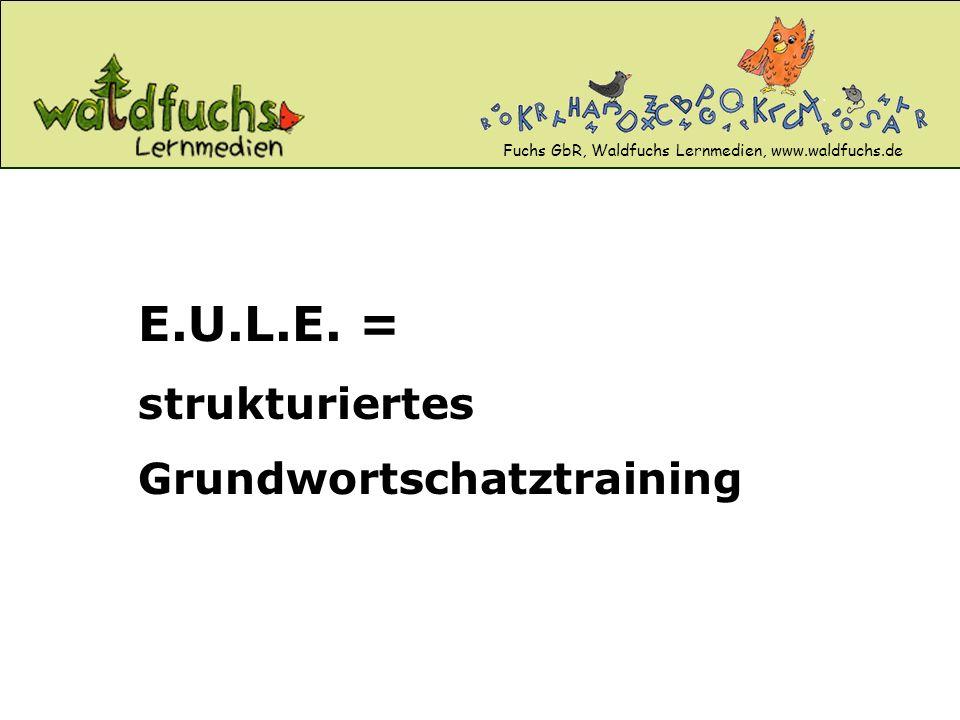 Fuchs GbR, Waldfuchs Lernmedien, www.waldfuchs.de E.U.L.E. = strukturiertes Grundwortschatztraining