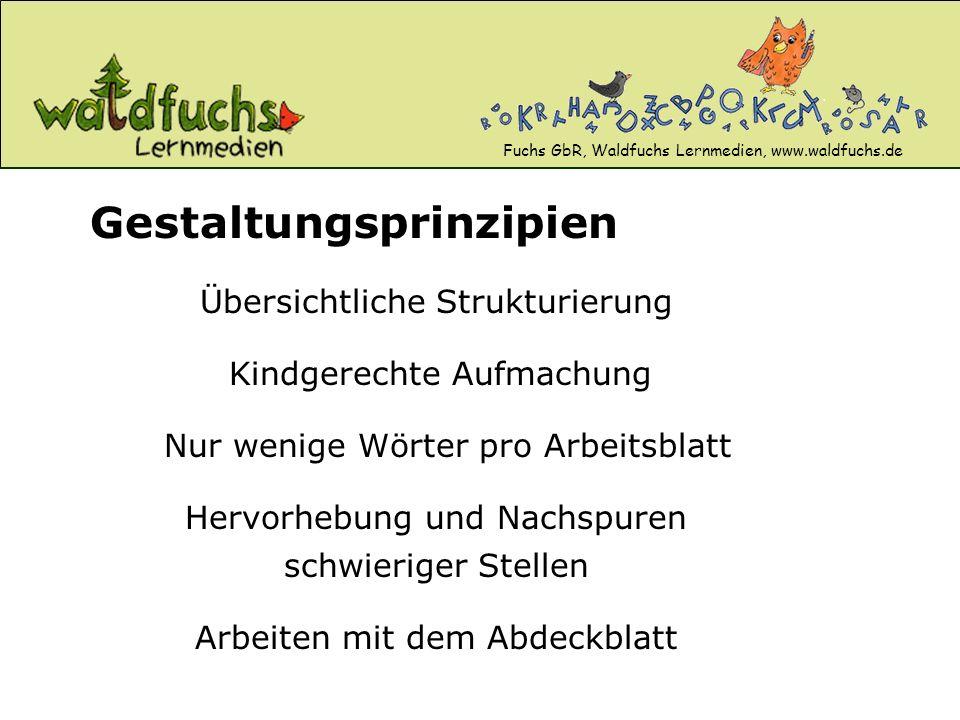 Fuchs GbR, Waldfuchs Lernmedien, www.waldfuchs.de Übersichtliche Strukturierung Gestaltungsprinzipien Kindgerechte Aufmachung Nur wenige Wörter pro Ar