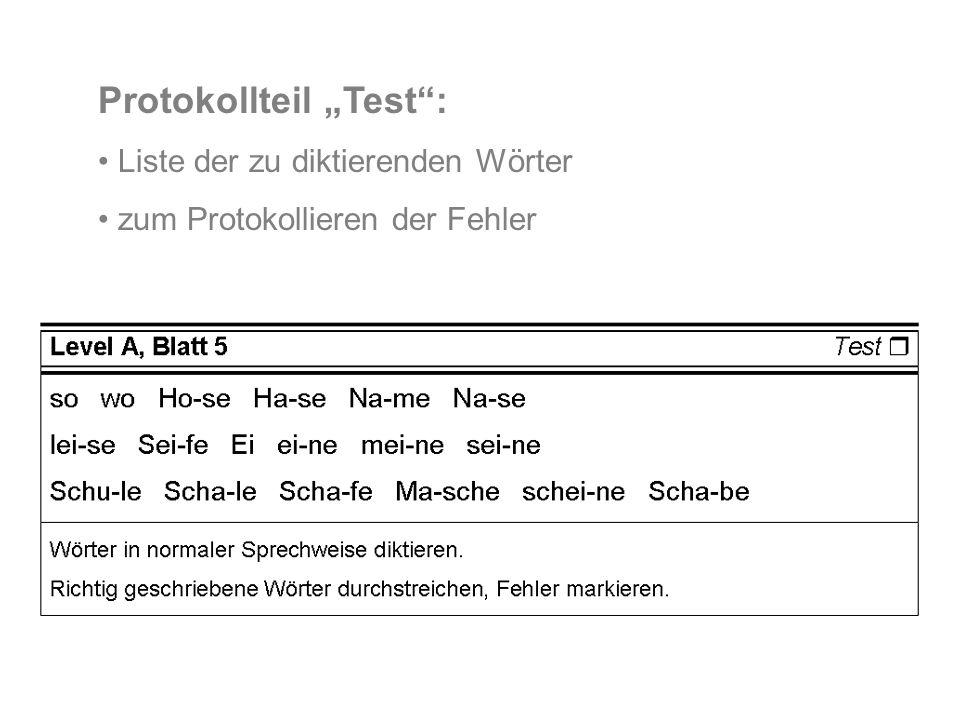 Protokollteil Test: Liste der zu diktierenden Wörter zum Protokollieren der Fehler