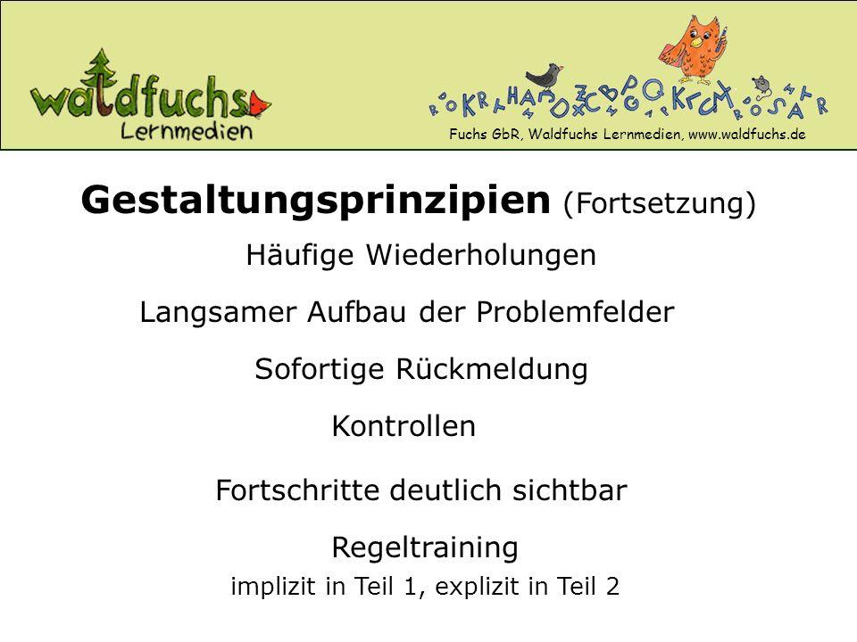Fuchs GbR, Waldfuchs Lernmedien, www.waldfuchs.de Häufige Wiederholungen Gestaltungsprinzipien (Fortsetzung) Langsamer Aufbau der Problemfelder Kontro