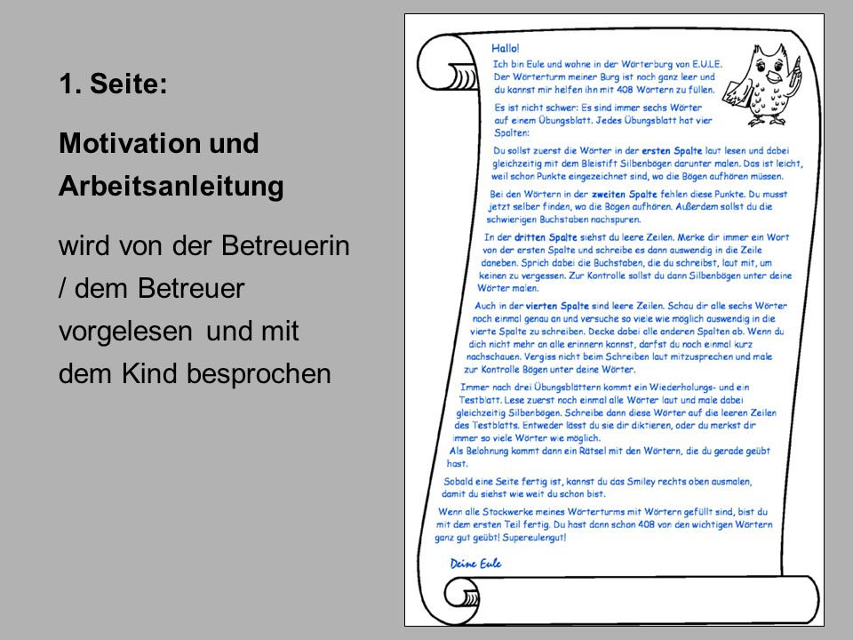 1. Seite: Motivation und Arbeitsanleitung wird von der Betreuerin / dem Betreuer vorgelesen und mit dem Kind besprochen