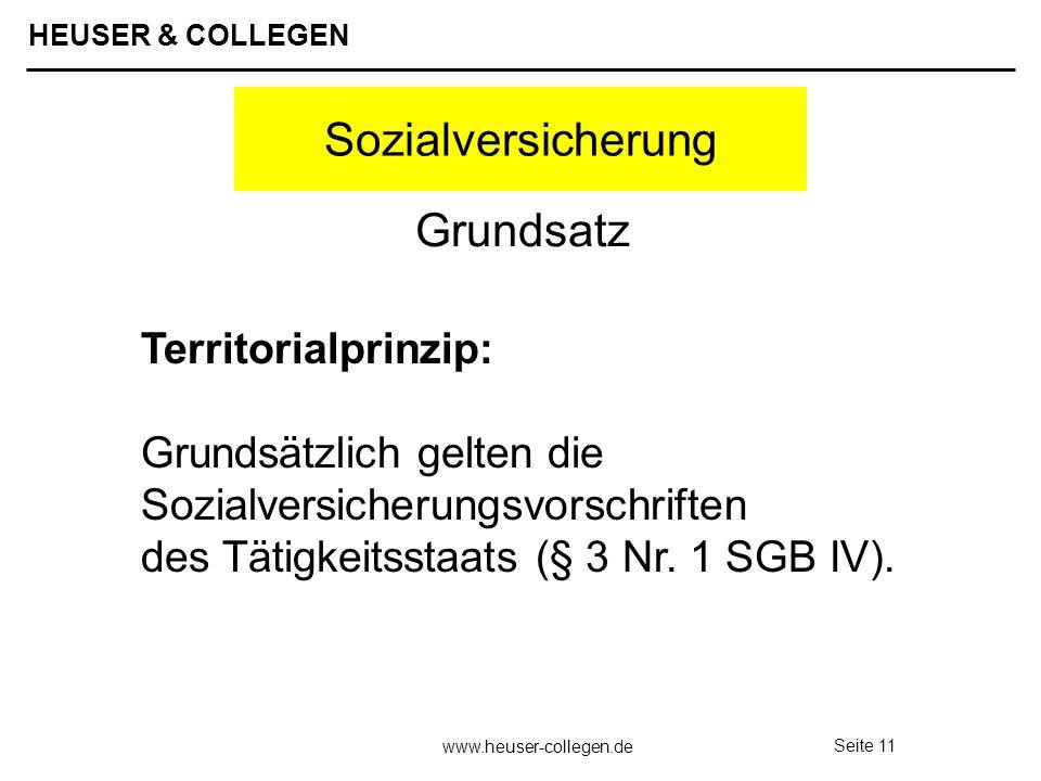 HEUSER & COLLEGEN www.heuser-collegen.de Seite 11 Sozialversicherung Territorialprinzip: Grundsätzlich gelten die Sozialversicherungsvorschriften des