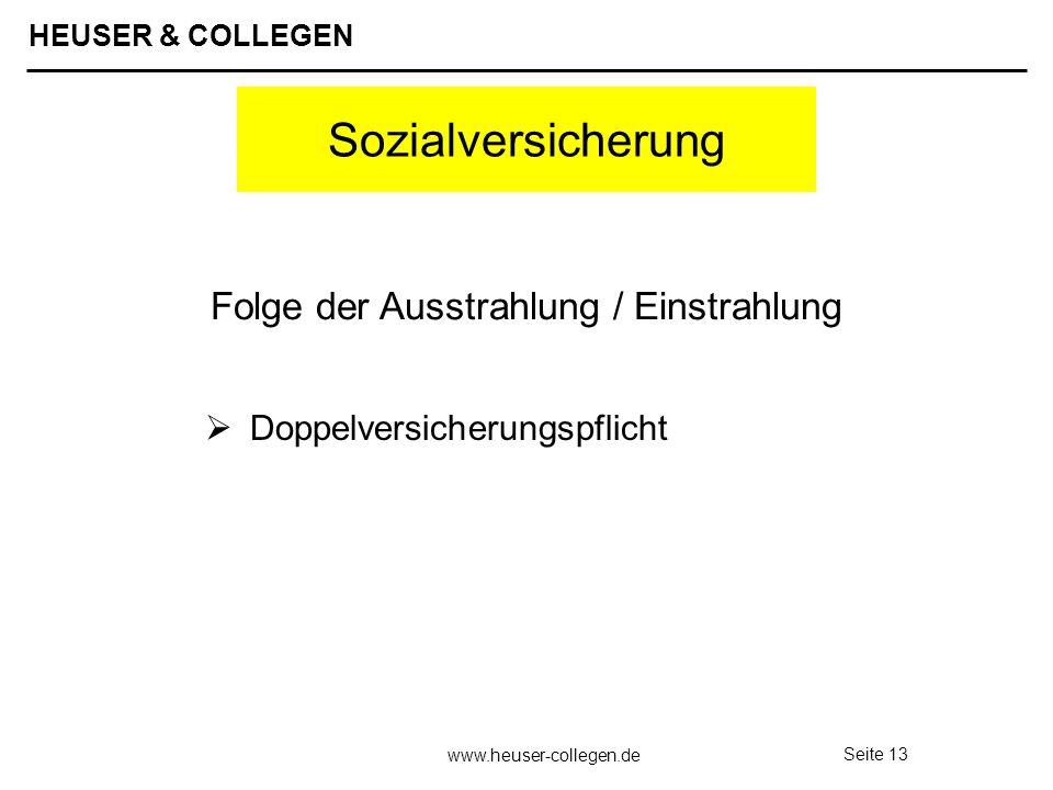 HEUSER & COLLEGEN www.heuser-collegen.de Seite 13 Sozialversicherung Doppelversicherungspflicht Folge der Ausstrahlung / Einstrahlung
