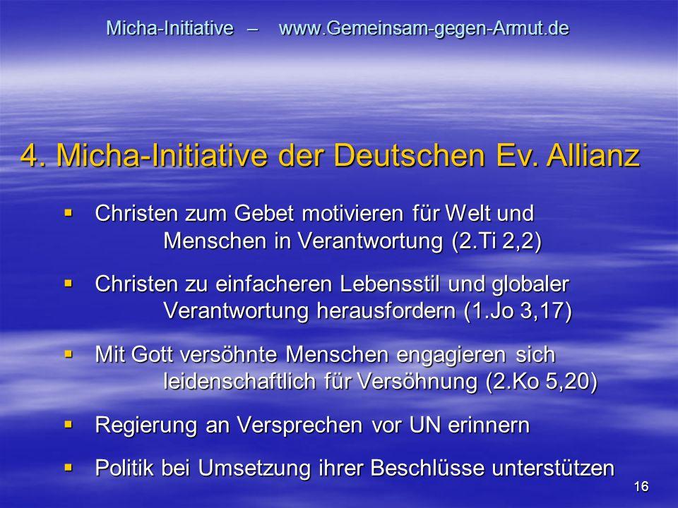 16 Micha-Initiative – www.Gemeinsam-gegen-Armut.de Christen zum Gebet motivieren für Welt und Menschen in Verantwortung (2.Ti 2,2) Christen zum Gebet motivieren für Welt und Menschen in Verantwortung (2.Ti 2,2) Christen zu einfacheren Lebensstil und globaler Verantwortung herausfordern (1.Jo 3,17) Christen zu einfacheren Lebensstil und globaler Verantwortung herausfordern (1.Jo 3,17) Mit Gott versöhnte Menschen engagieren sich leidenschaftlich für Versöhnung (2.Ko 5,20) Mit Gott versöhnte Menschen engagieren sich leidenschaftlich für Versöhnung (2.Ko 5,20) Regierung an Versprechen vor UN erinnern Regierung an Versprechen vor UN erinnern Politik bei Umsetzung ihrer Beschlüsse unterstützen Politik bei Umsetzung ihrer Beschlüsse unterstützen 4.