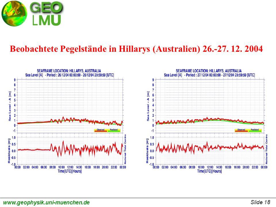 Slide 18 www.geophysik.uni-muenchen.de Beobachtete Pegelstände in Hillarys (Australien) 26.-27. 12. 2004
