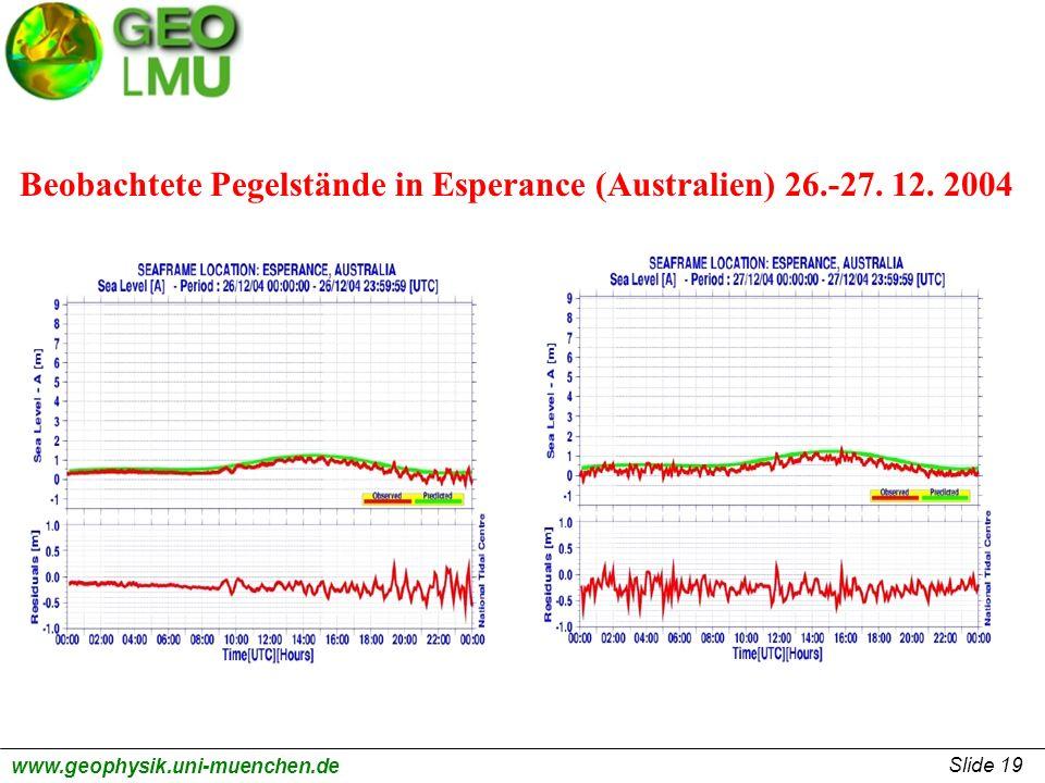 Slide 19 www.geophysik.uni-muenchen.de Beobachtete Pegelstände in Esperance (Australien) 26.-27. 12. 2004
