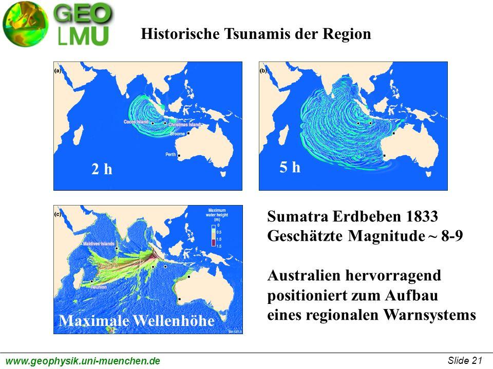 Slide 21 www.geophysik.uni-muenchen.de Historische Tsunamis der Region 2 h 5 h Maximale Wellenhöhe Sumatra Erdbeben 1833 Geschätzte Magnitude ~ 8-9 Au