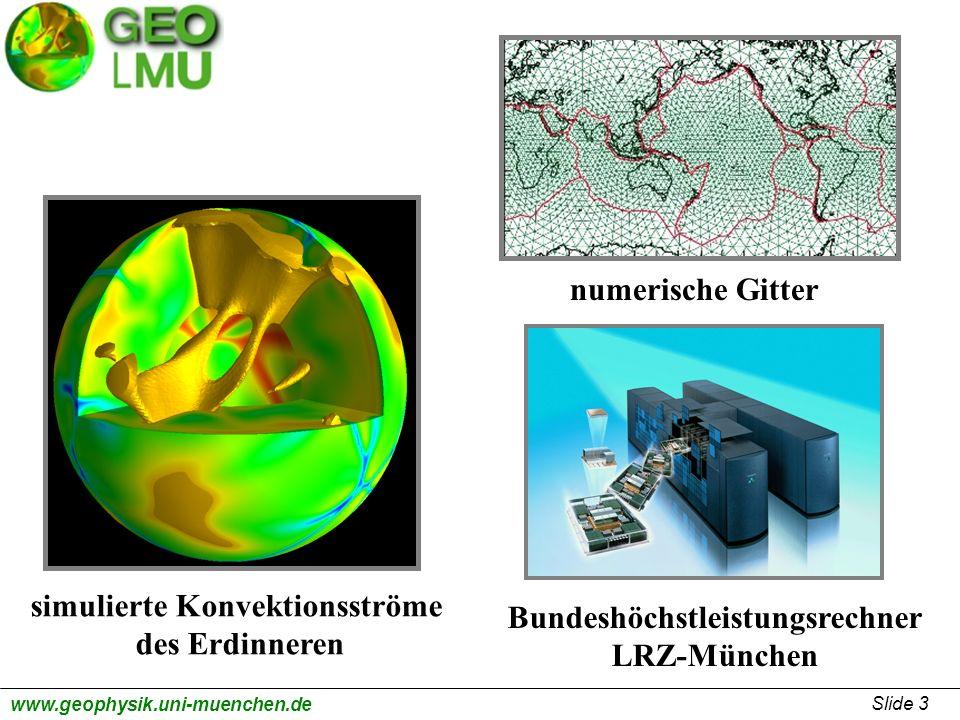 Slide 3 www.geophysik.uni-muenchen.de simulierte Konvektionsströme des Erdinneren numerische Gitter Bundeshöchstleistungsrechner LRZ-München