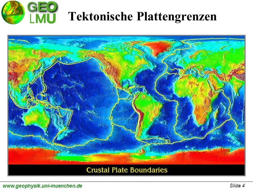 Slide 5 www.geophysik.uni-muenchen.de Astronomische Geodäsie mittels Präzisionsmessungen Globales Positions System (GPS) (TU-München) ermöglicht heute Echtzeitmessungen tektonischer Plattenbewegung