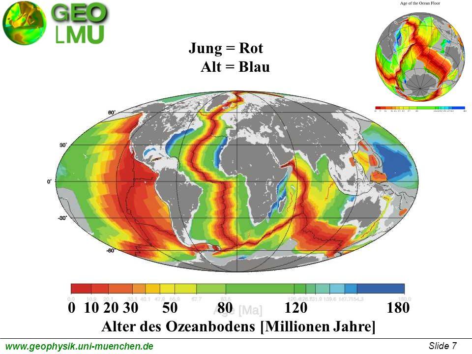 Slide 8 www.geophysik.uni-muenchen.de 0 10 20 30 50 80 120 180 Alter des Ozeanbodens [Millionen Jahre] Nascente Plattengrenze zwischen Indien und Australien