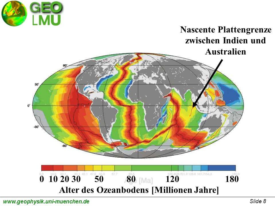 Slide 9 www.geophysik.uni-muenchen.de Ausbreitungsgeschwindigkeit der Tsunamiwellen V = (g * h) ½ V = (10 m / sec 2 * 4000 m) ½ V = (40.000 m 2 / sec 2 ) ½ V = 200 m/sec ~ 700 km/h g = Erdbeschleunigung, h = Tiefe des Ozeanbodens