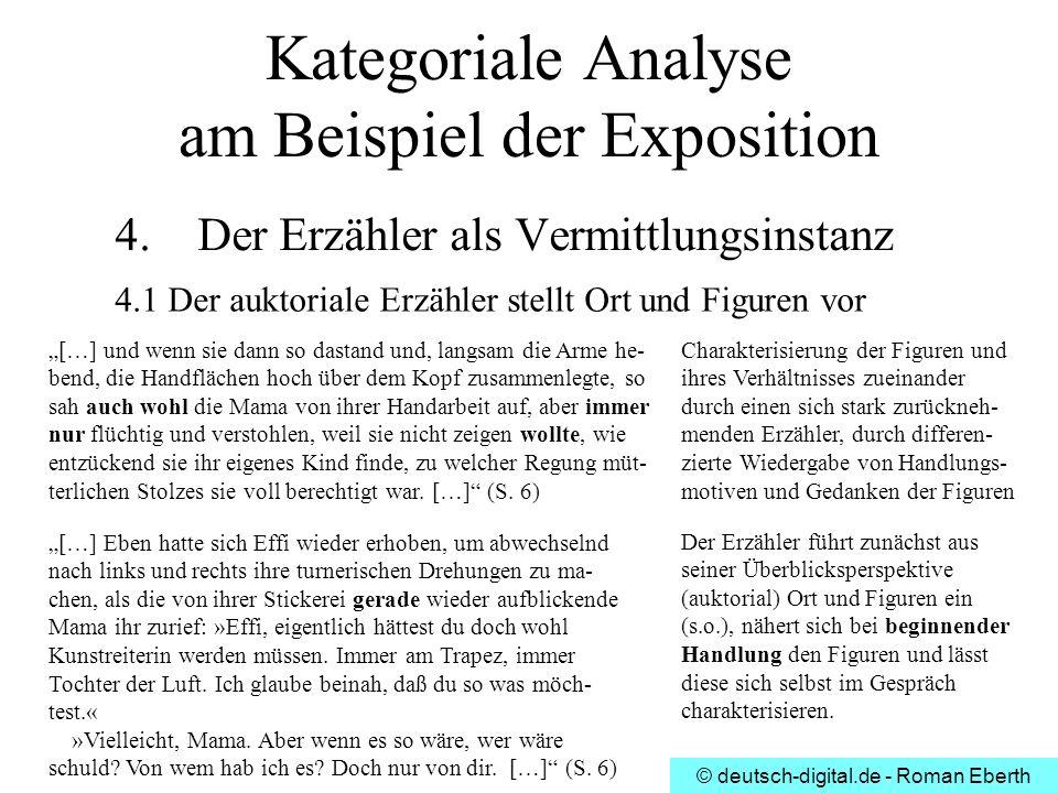 © deutsch-digital.de - Roman Eberth Kategoriale Analyse am Beispiel der Exposition 4. Der Erzähler als Vermittlungsinstanz 4.1 Der auktoriale Erzähler