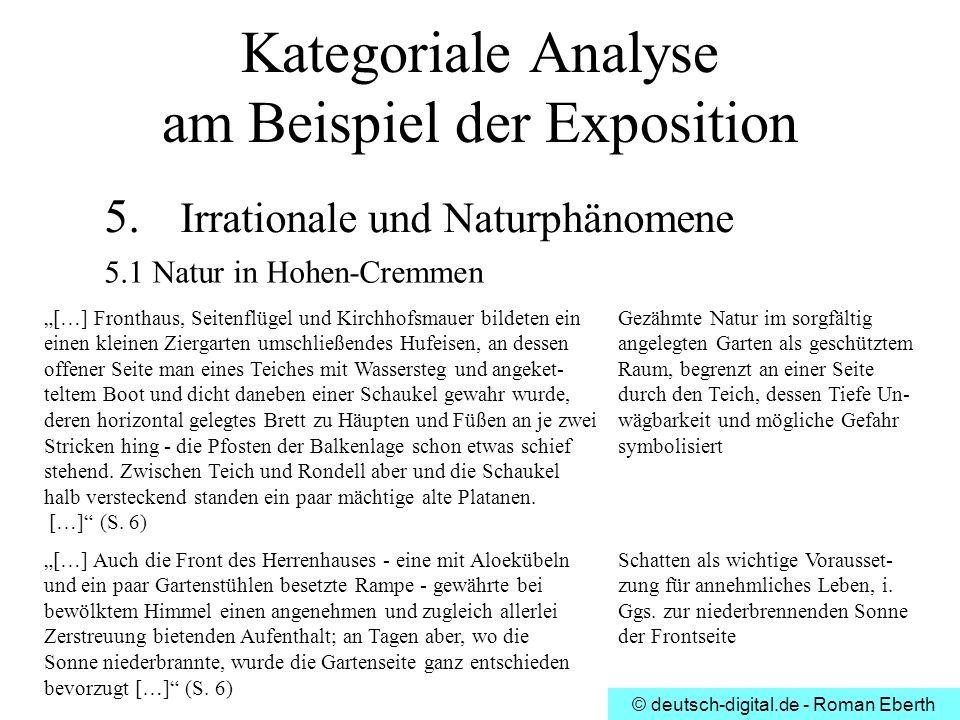 © deutsch-digital.de - Roman Eberth Kategoriale Analyse am Beispiel der Exposition 5. Irrationale und Naturphänomene 5.1 Natur in Hohen-Cremmen […] Fr