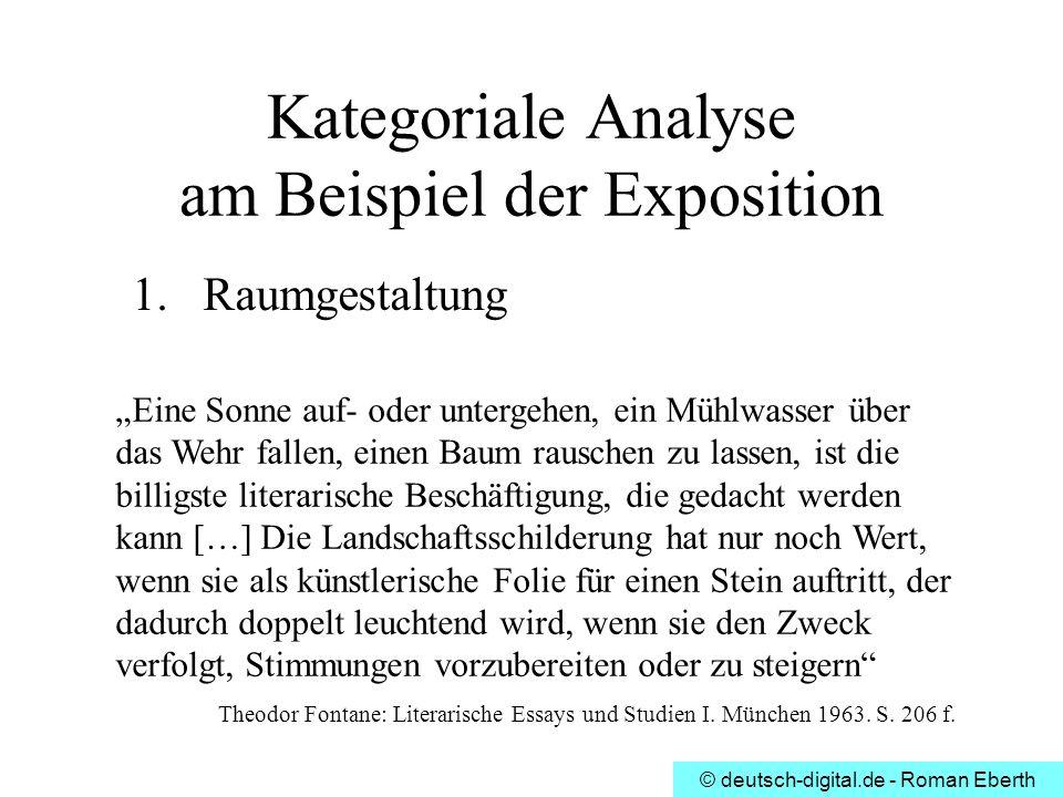 © deutsch-digital.de - Roman Eberth Kategoriale Analyse am Beispiel der Exposition 1.Raumgestaltung Eine Sonne auf- oder untergehen, ein Mühlwasser üb