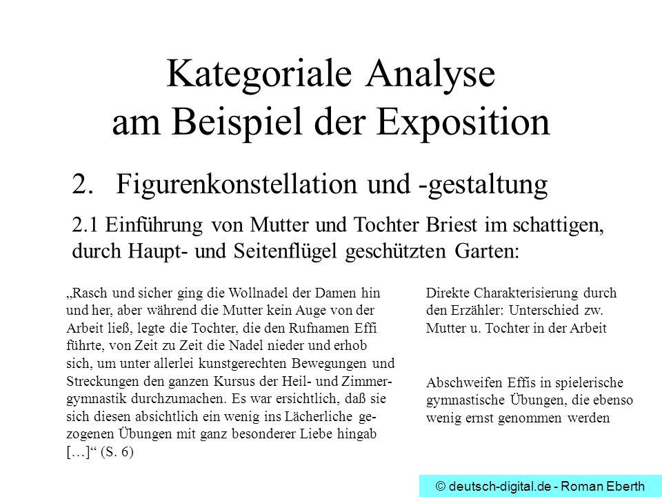 © deutsch-digital.de - Roman Eberth Kategoriale Analyse am Beispiel der Exposition 2.Figurenkonstellation und -gestaltung 2.1 Einführung von Mutter un