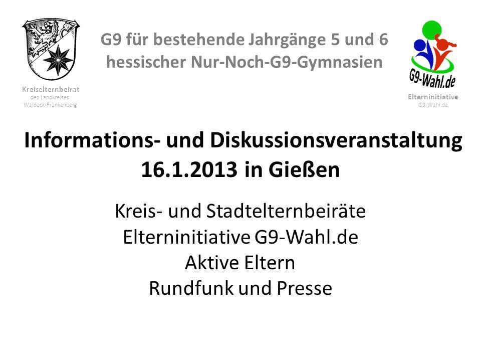 G9 für bestehende Jahrgänge 5 und 6 hessischer Nur-Noch-G9-Gymnasien Kreiselternbeirat des Landkreises Waldeck-Frankenberg Elterninitiative G9-Wahl.de