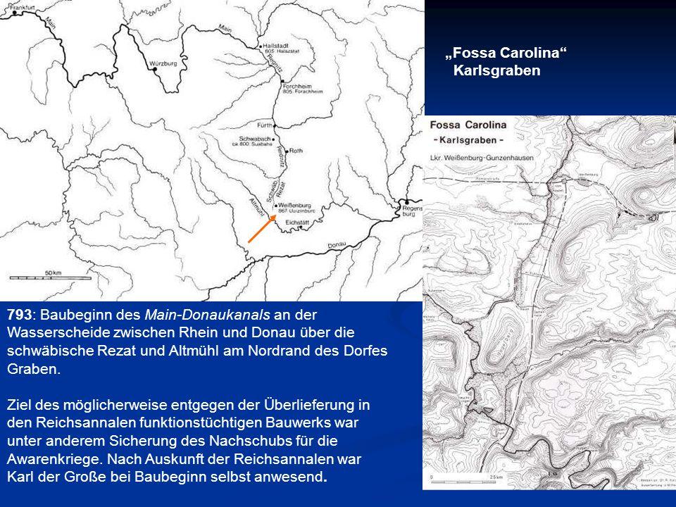 793: Baubeginn des Main-Donaukanals an der Wasserscheide zwischen Rhein und Donau über die schwäbische Rezat und Altmühl am Nordrand des Dorfes Graben