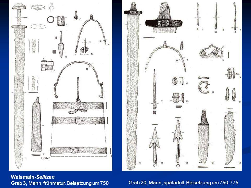 Weismain-Selitzen Grab 3, Mann, frühmatur, Beisetzung um 750 Grab 20, Mann, spätadult, Beisetzung um 750-775