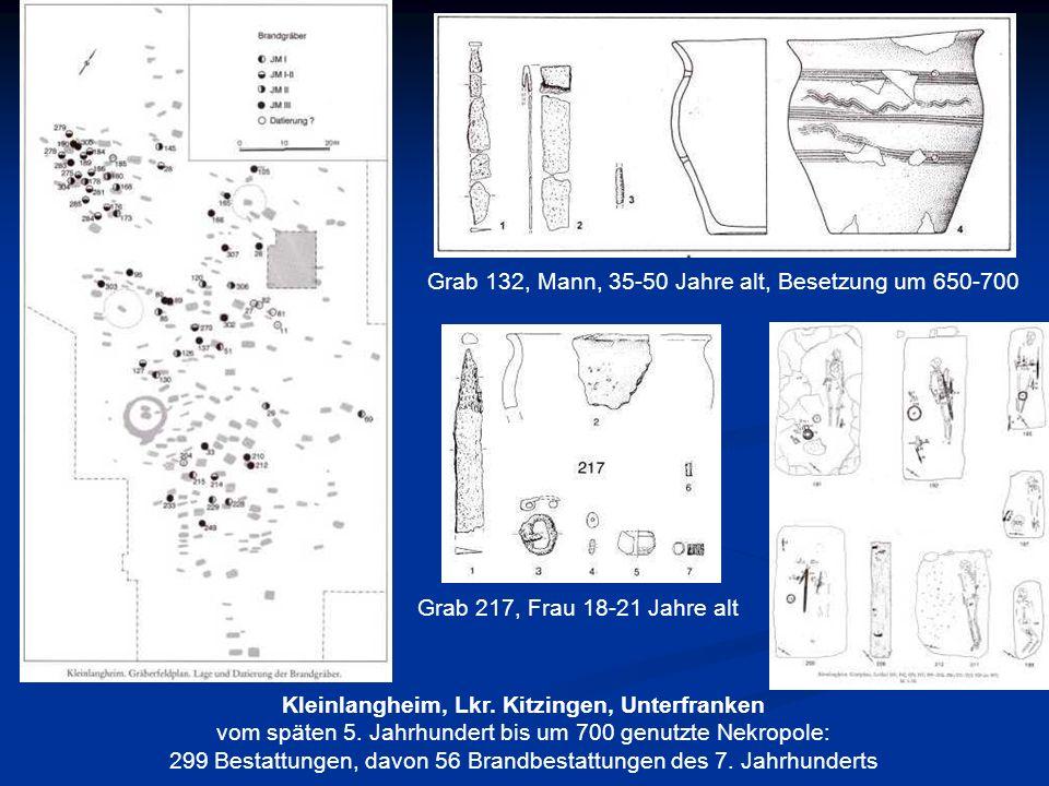 Kleinlangheim, Lkr. Kitzingen, Unterfranken vom späten 5. Jahrhundert bis um 700 genutzte Nekropole: 299 Bestattungen, davon 56 Brandbestattungen des
