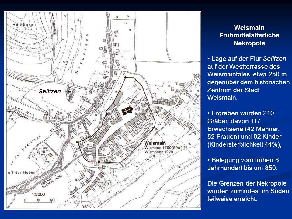 Selitzen Weismain Frühmittelalterliche Nekropole Lage auf der Flur Selitzen auf der Westterrasse des Weismaintales, etwa 250 m gegenüber dem historisc