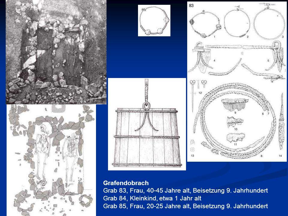 Grab 83, Frau, 40-45 Jahre alt, Beisetzung 9. Jahrhundert Grab 84, Kleinkind, etwa 1 Jahr alt Grab 85, Frau, 20-25 Jahre alt, Beisetzung 9. Jahrhunder