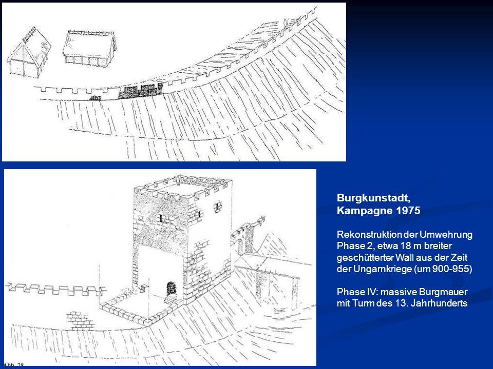 Burgkunstadt, Kampagne 1975 Rekonstruktion der Umwehrung Phase 2, etwa 18 m breiter geschütterter Wall aus der Zeit der Ungarnkriege (um 900-955) Phas