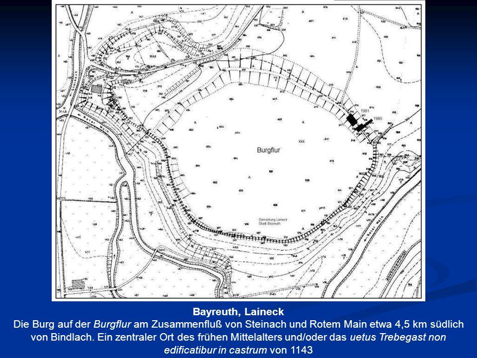 Bayreuth, Laineck Die Burg auf der Burgflur am Zusammenfluß von Steinach und Rotem Main etwa 4,5 km südlich von Bindlach. Ein zentraler Ort des frühen