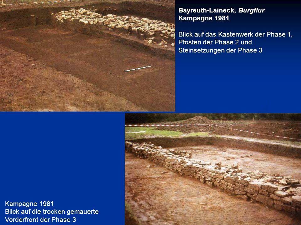Bayreuth-Laineck, Burgflur Kampagne 1981 Blick auf das Kastenwerk der Phase 1, Pfosten der Phase 2 und Steinsetzungen der Phase 3 Kampagne 1981 Blick