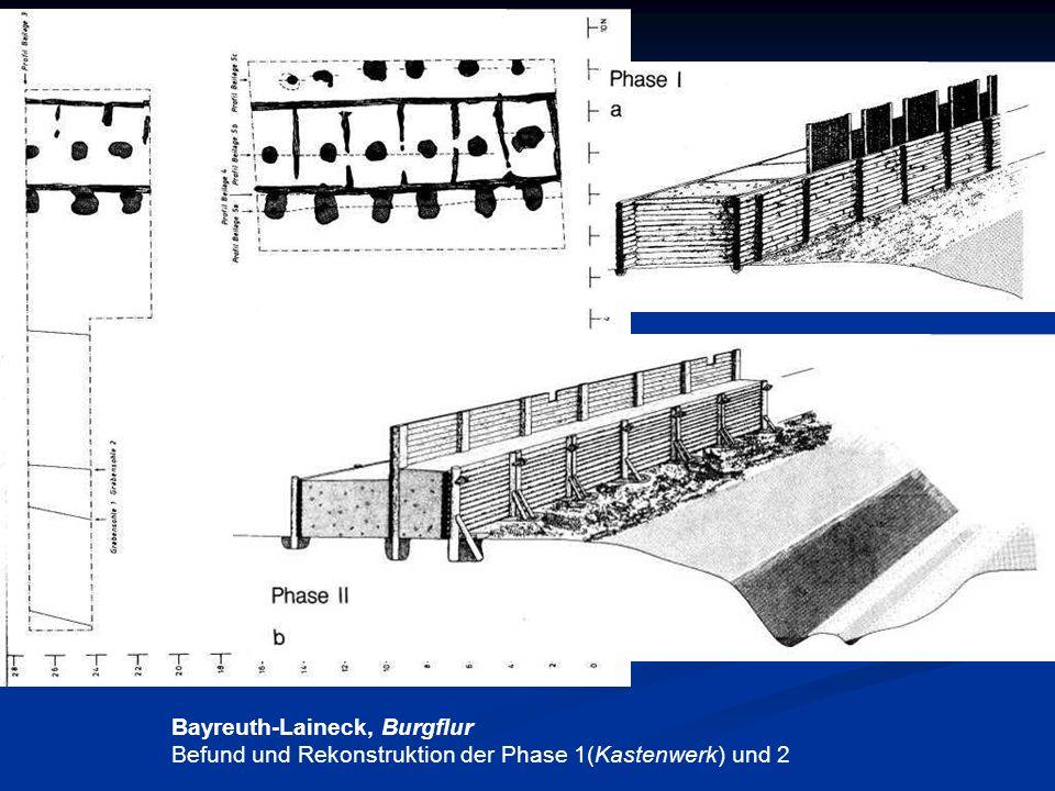 Bayreuth-Laineck, Burgflur Befund und Rekonstruktion der Phase 1(Kastenwerk) und 2