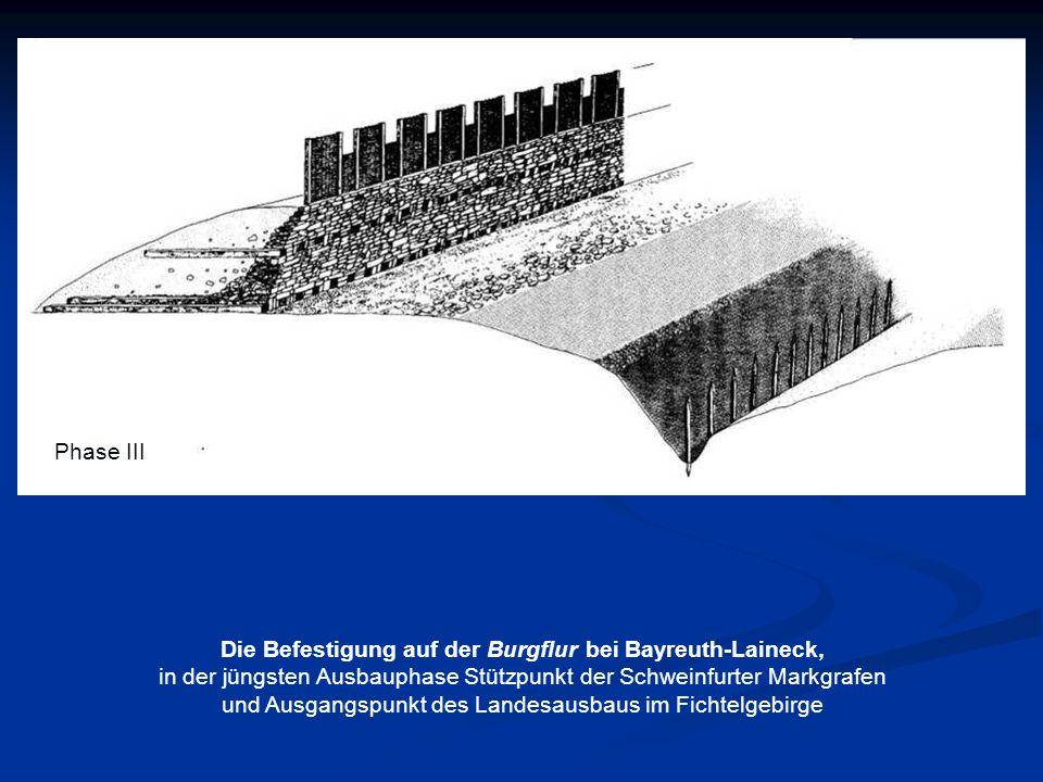 Phase III Die Befestigung auf der Burgflur bei Bayreuth-Laineck, in der jüngsten Ausbauphase Stützpunkt der Schweinfurter Markgrafen und Ausgangspunkt