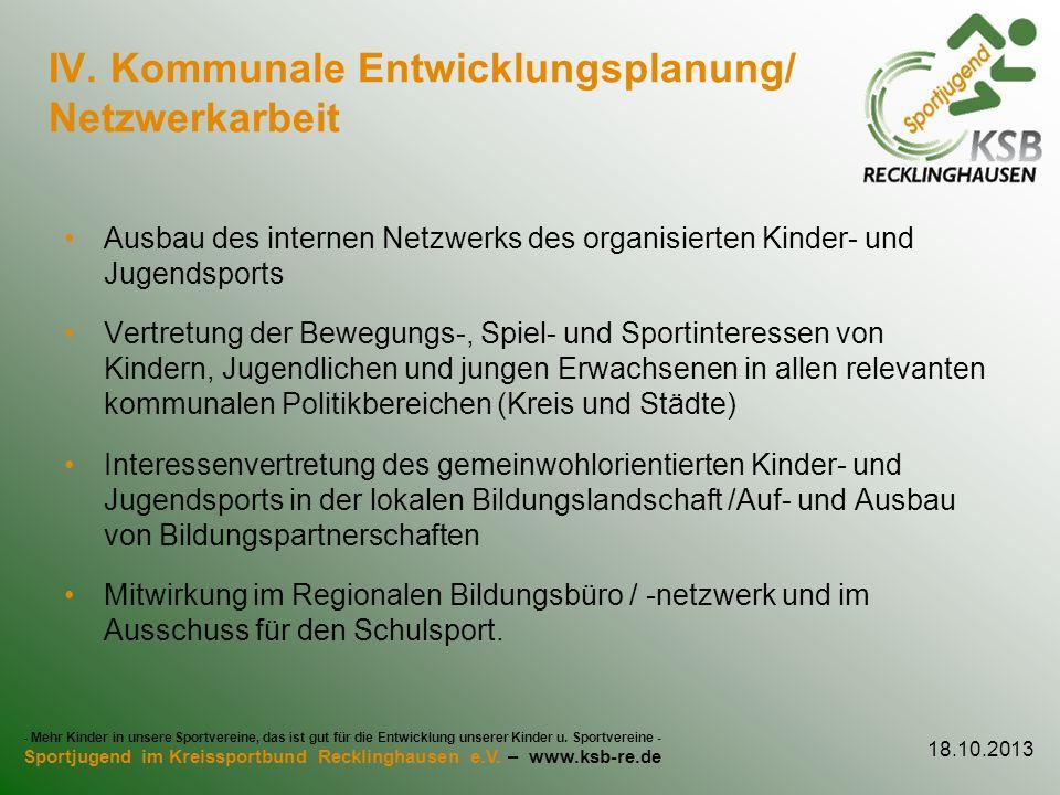 IV. Kommunale Entwicklungsplanung/ Netzwerkarbeit Ausbau des internen Netzwerks des organisierten Kinder- und Jugendsports Vertretung der Bewegungs-,