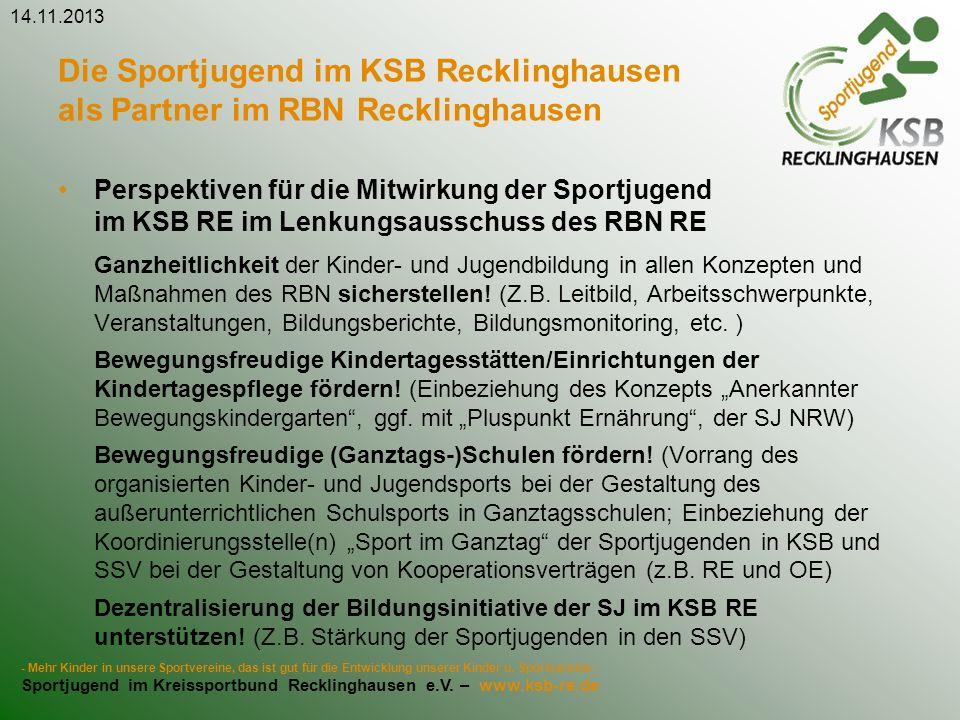 Die Sportjugend im KSB Recklinghausen als Partner im RBN Recklinghausen Perspektiven für die Mitwirkung der Sportjugend im KSB RE im Lenkungsausschuss