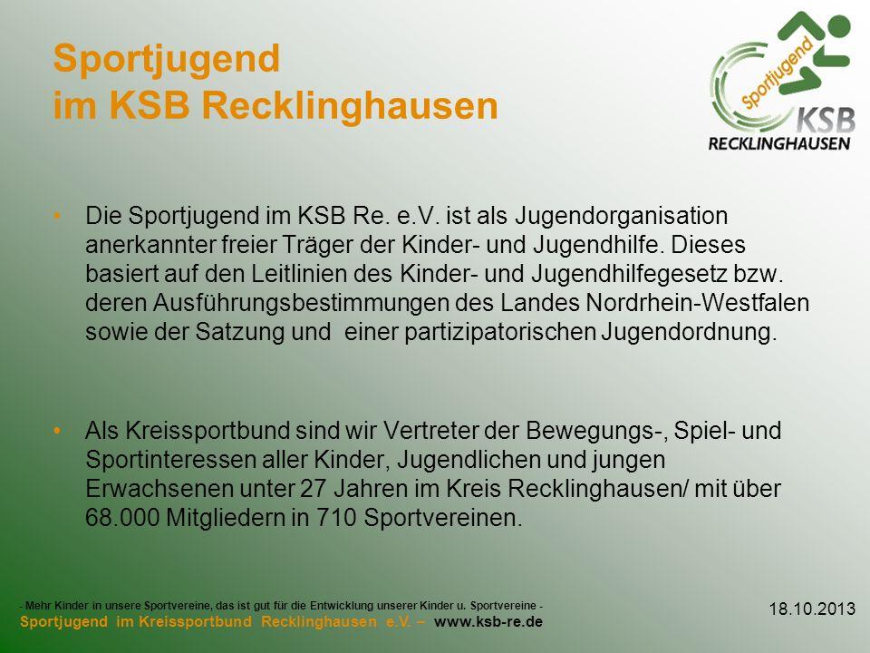 Sportjugend im KSB Recklinghausen Die Sportjugend im KSB Re. e.V. ist als Jugendorganisation anerkannter freier Träger der Kinder- und Jugendhilfe. Di