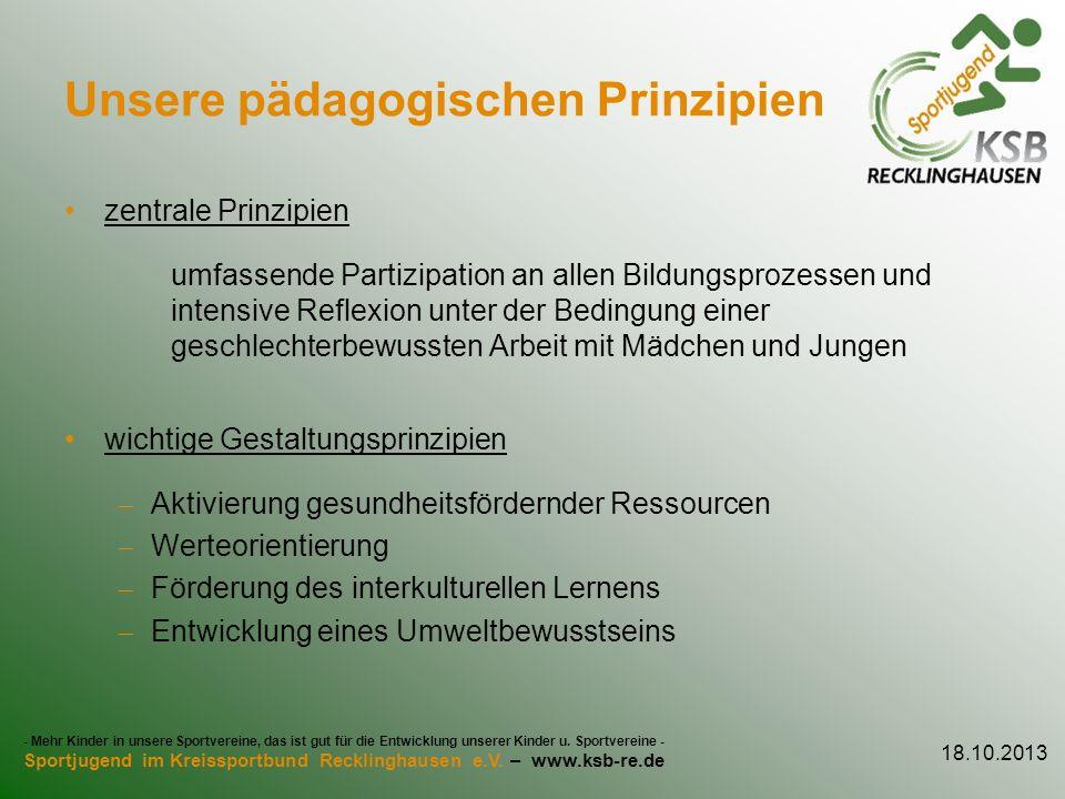 Unsere pädagogischen Prinzipien zentrale Prinzipien umfassende Partizipation an allen Bildungsprozessen und intensive Reflexion unter der Bedingung ei