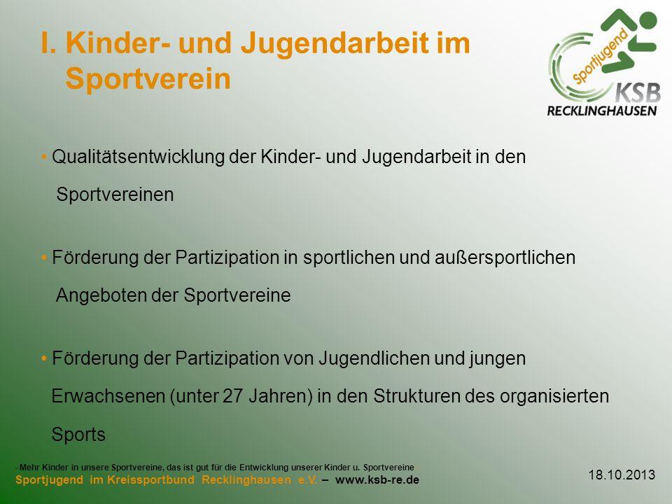 I. Kinder- und Jugendarbeit im Sportverein Qualitätsentwicklung der Kinder- und Jugendarbeit in den Sportvereinen Förderung der Partizipation in sport
