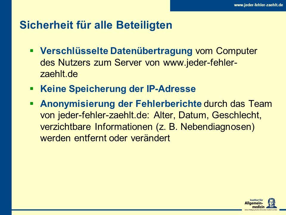 www.jeder-fehler-zaehlt.de Sicherheit für alle Beteiligten Verschlüsselte Datenübertragung vom Computer des Nutzers zum Server von www.jeder-fehler- z