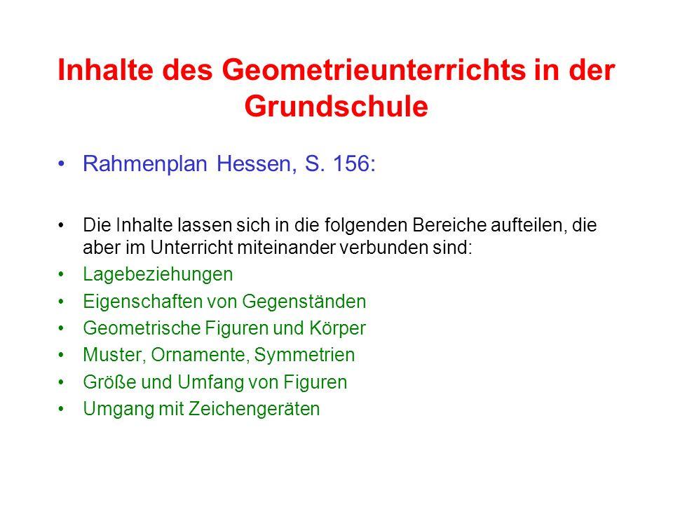 Inhalte des Geometrieunterrichts in der Grundschule Rahmenplan Hessen, S. 156: Die Inhalte lassen sich in die folgenden Bereiche aufteilen, die aber i
