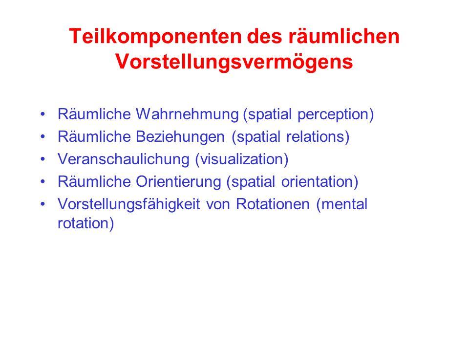 Teilkomponenten des räumlichen Vorstellungsvermögens Räumliche Wahrnehmung (spatial perception) Räumliche Beziehungen (spatial relations) Veranschauli