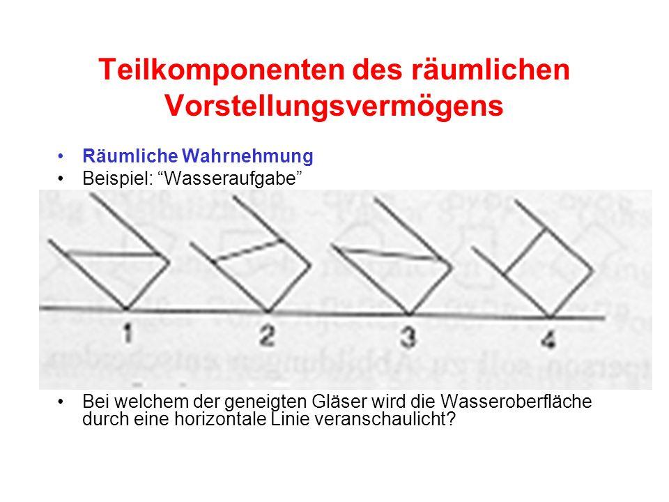 Teilkomponenten des räumlichen Vorstellungsvermögens Räumliche Wahrnehmung Beispiel: Wasseraufgabe Bei welchem der geneigten Gläser wird die Wasserobe