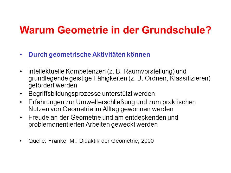 Warum Geometrie in der Grundschule? Durch geometrische Aktivitäten können intellektuelle Kompetenzen (z. B. Raumvorstellung) und grundlegende geistige