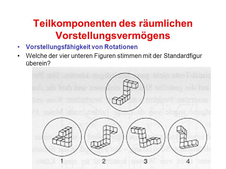 Teilkomponenten des räumlichen Vorstellungsvermögens Vorstellungsfähigkeit von Rotationen Welche der vier unteren Figuren stimmen mit der Standardfigu