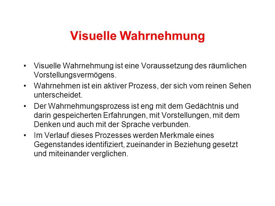 Visuelle Wahrnehmung Visuelle Wahrnehmung ist eine Voraussetzung des räumlichen Vorstellungsvermögens. Wahrnehmen ist ein aktiver Prozess, der sich vo