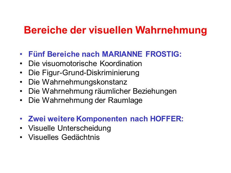 Bereiche der visuellen Wahrnehmung Fünf Bereiche nach MARIANNE FROSTIG: Die visuomotorische Koordination Die Figur-Grund-Diskriminierung Die Wahrnehmu