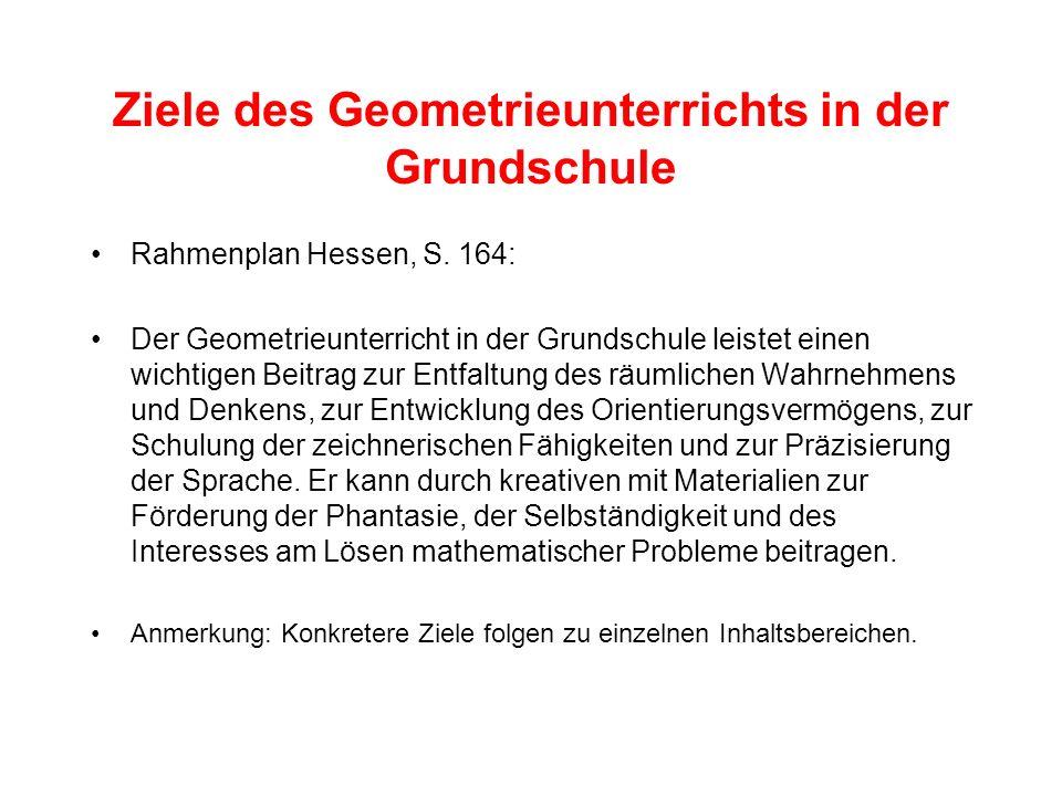 Ziele des Geometrieunterrichts in der Grundschule Rahmenplan Hessen, S. 164: Der Geometrieunterricht in der Grundschule leistet einen wichtigen Beitra