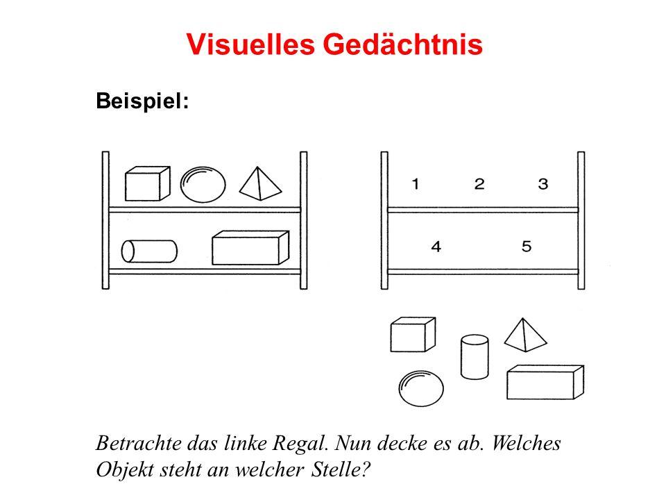 Visuelles Gedächtnis Beispiel: Betrachte das linke Regal. Nun decke es ab. Welches Objekt steht an welcher Stelle?