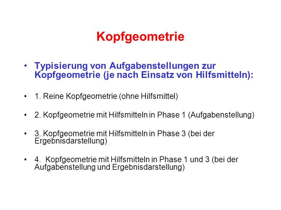 Kopfgeometrie Typisierung von Aufgabenstellungen zur Kopfgeometrie (je nach Einsatz von Hilfsmitteln): 1. Reine Kopfgeometrie (ohne Hilfsmittel) 2. Ko