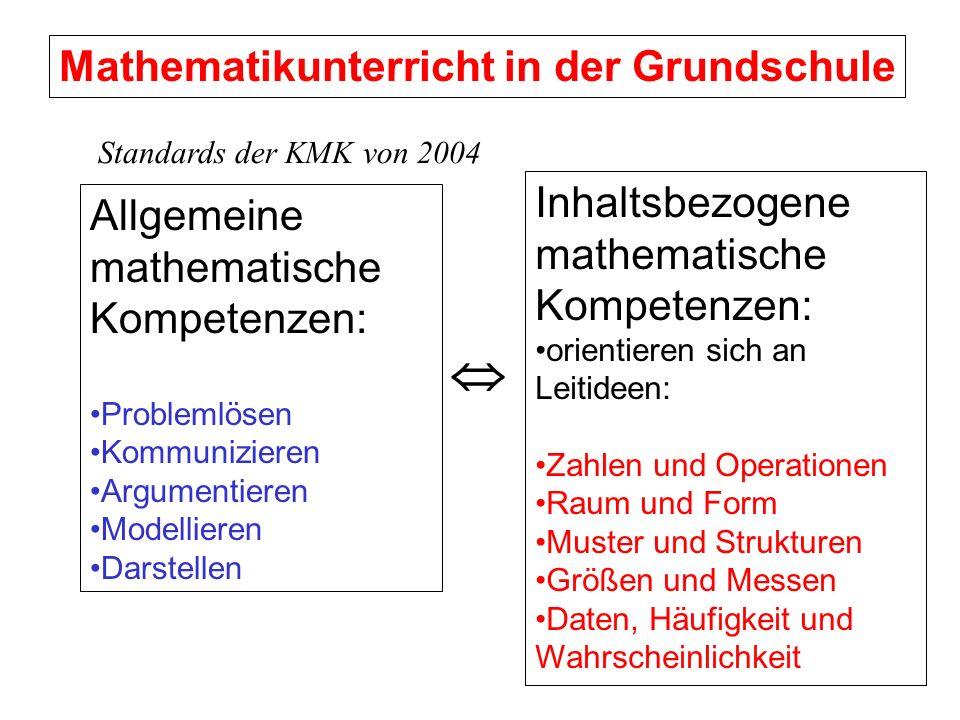 Mathematikunterricht in der Grundschule Allgemeine mathematische Kompetenzen: Problemlösen Kommunizieren Argumentieren Modellieren Darstellen Inhaltsb