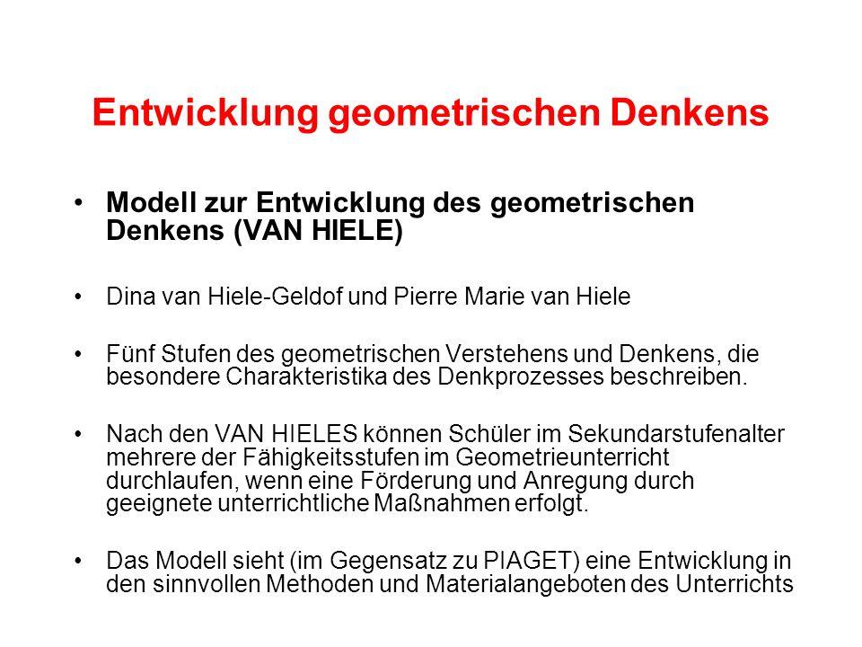 Entwicklung geometrischen Denkens Modell zur Entwicklung des geometrischen Denkens (VAN HIELE) Dina van Hiele-Geldof und Pierre Marie van Hiele Fünf S