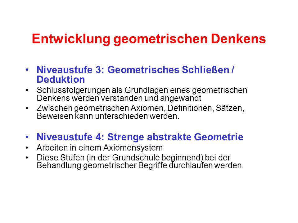 Entwicklung geometrischen Denkens Niveaustufe 3: Geometrisches Schließen / Deduktion Schlussfolgerungen als Grundlagen eines geometrischen Denkens wer