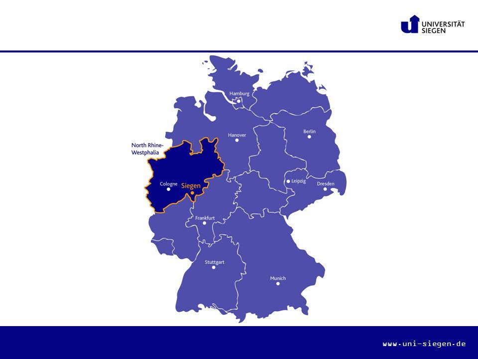 Die Universität Siegen …ist eine junge moderne Hochschule im Zentrum des Dreiländerecks NRW, Hessen und Rheinland-Pfalz …positioniert sich als mittelgroße Forschungsuniversität und als Universität in der und für die Region …punktet mit hoher Interdisziplinarität in Forschung und Lehre …legt besonderen Wert auf die Betreuung der Studierenden …treibt die Internationalisierung stark voran …folgt der Leitidee: Zukunft menschlich gestalten